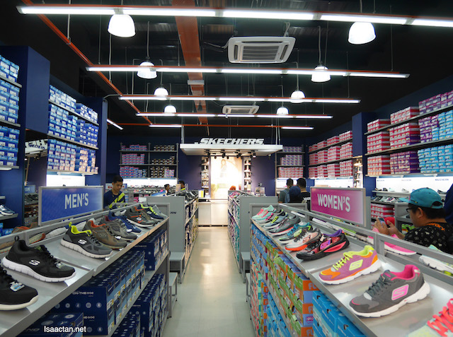Rows and rows of Skechers shoes
