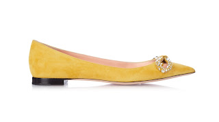 Rochas Yellow Crystal Embellished Suede Pumps