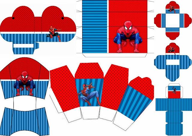 Fiesta de Spiderman: Cajas para Imprimir Gratis.