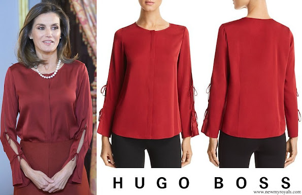Queen Letizia wore Hugo Boss Burana Silk Blouse