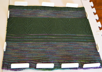 Cowl blocking with Knitters Pride blocking pins. for sale at https://www.etsy.com/shop/jeanniegrayknits