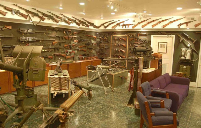 basement interior design with gun selections, gun storage ideas in the basement