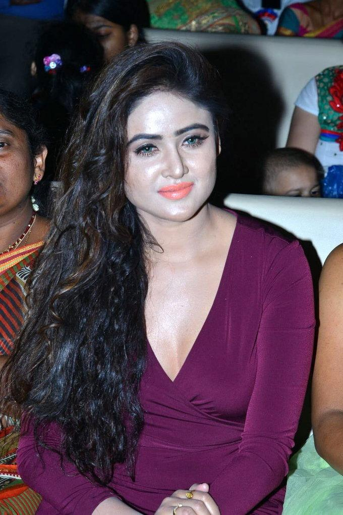 Telugu Model Sony Charishta Stills In Violet Dress At Audio Launch