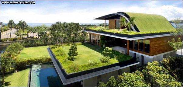 casa grande com telhado verde