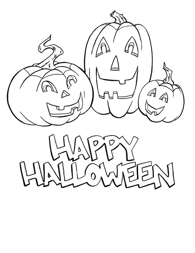 free printable coloring halloween pages | halloween coloring pages: Happy Halloween Coloring Pages
