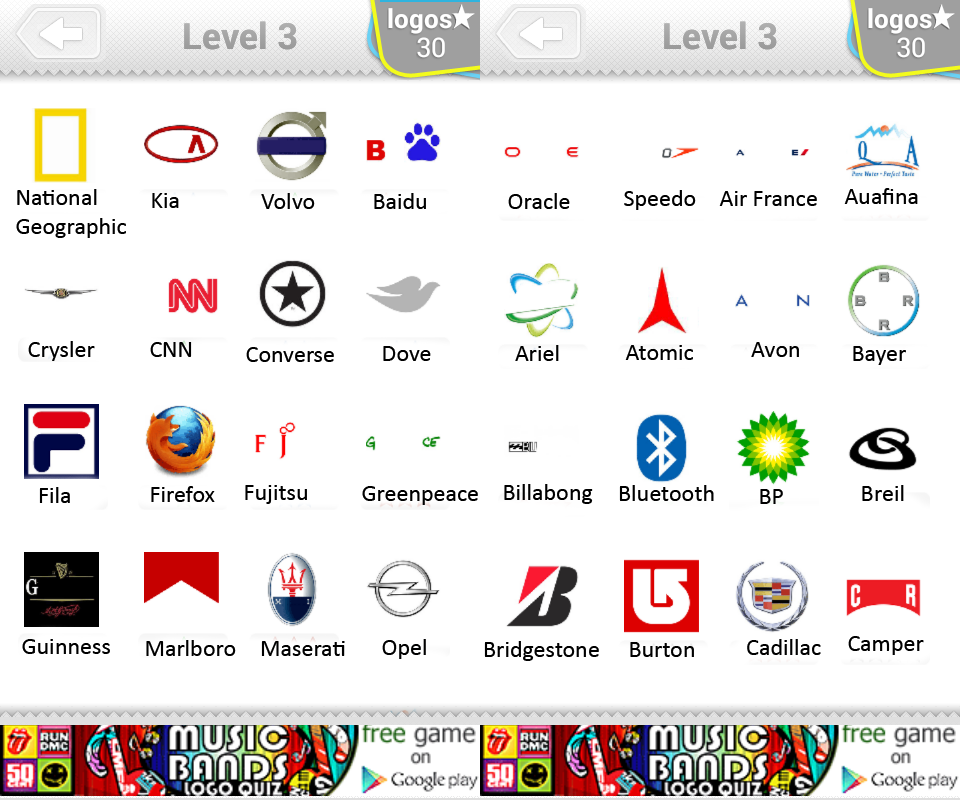 Logo Quiz Level 3 Answers By Bubble Quiz Games Answers
