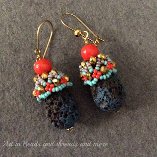 Lava bead earrings