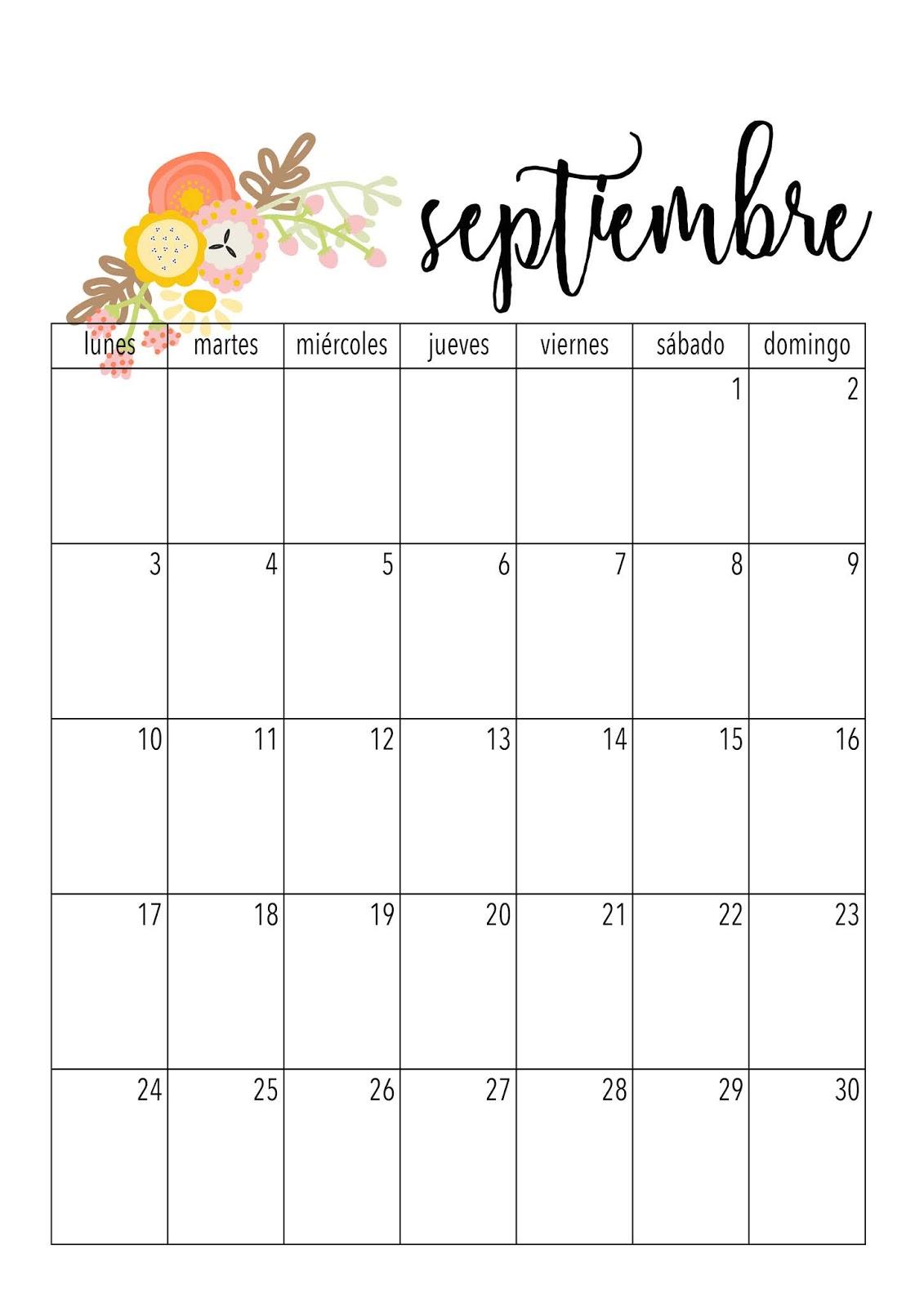 Calendario De Septiembre.Con P De Papel Calendario Septiembre 2018