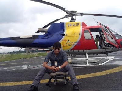late captain subeg shrestha with crashed helicopter