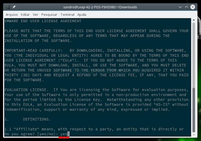 """Aceite o Contrato de Licença do VMware OVF Tool teclando y e """"Enter"""" em seguida"""