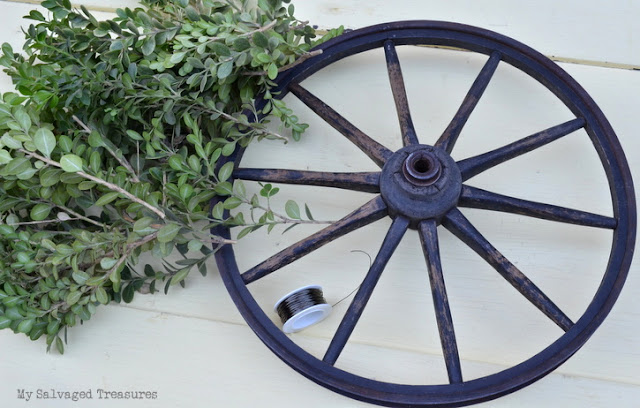 vintage wagon wheel and boxwood wreath tutorial