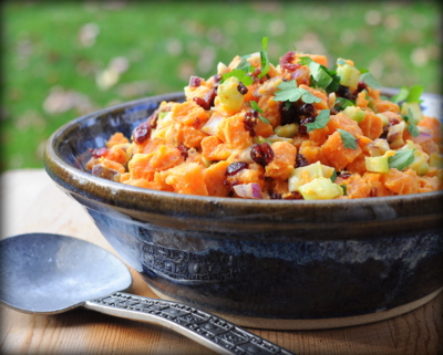 Simple 'Sweet Potato' Potato Salad with Hardly Any Mayonnaise, another colorful seasonal salad ♥ AVeggieVenture.com.