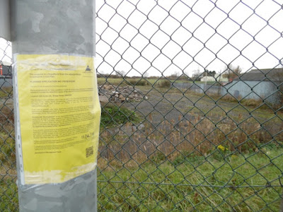 A public notice about Aldi's amended store plan fixed to a post near the site that is earmarked for the development on Bridge Street, Brigg, beside the A18 - picture on Nigel Fisher's Brigg Blog