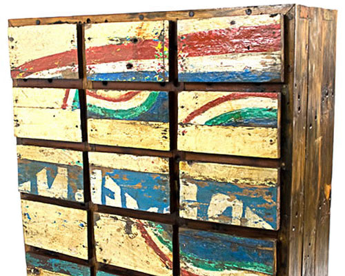 Designing recycled railroad wood texture bring exotic and unique furniture