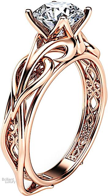 Brilliant Luxury♦Ayala Diamonds 14K Rose Gold Moissanite Engagement Ring