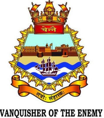 Image Attribute: The ship's crest depicts the outline of the iconic Fort St George of Chennai in the background, a part of the adjacent beach and a sloop on blue and white waves. The motto of the Crew is 'Shatro Sanharaka' meaning 'Vanquisher of The Enemy'  in Sanskrit / Source: Indian Navy Spokesperson's Twitter Handle