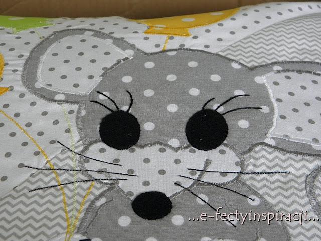 poduszka, poduszka z aplikacją, jak uszyć poduszkę z aplikacją, myszka, akcja charytatywna, pomysł na prezent, e-fectyinspiracji