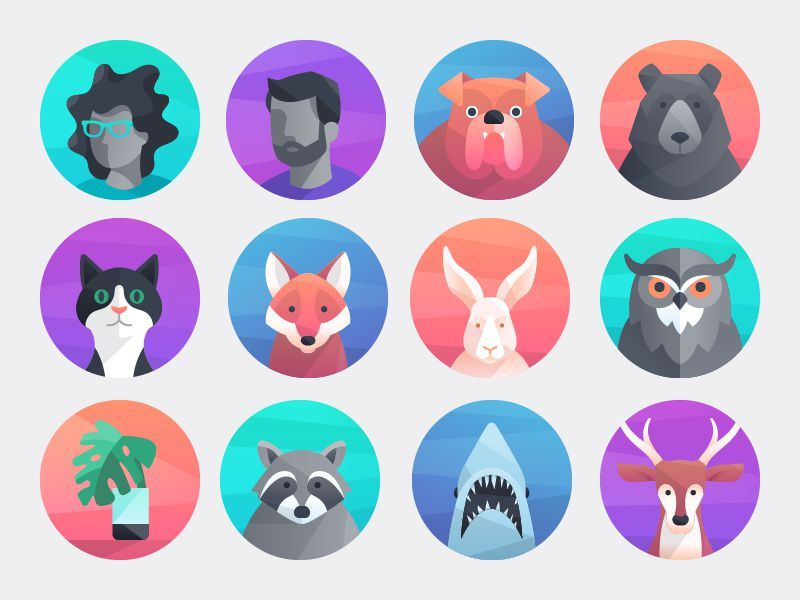 Icon design trend 3 - staggered gradients