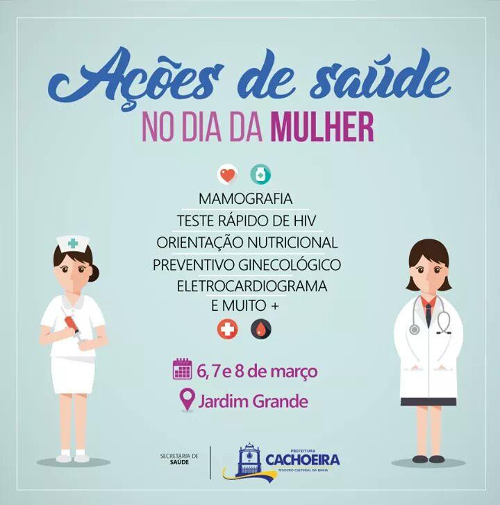 796f269143b CACHOEIRA  Secretaria Municipal de Saúde promove ações de saúde voltada  para mulheres