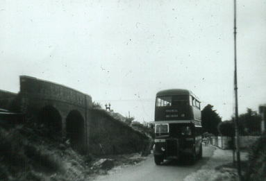Guy Arab on temporary road  passing Clayhall Arch