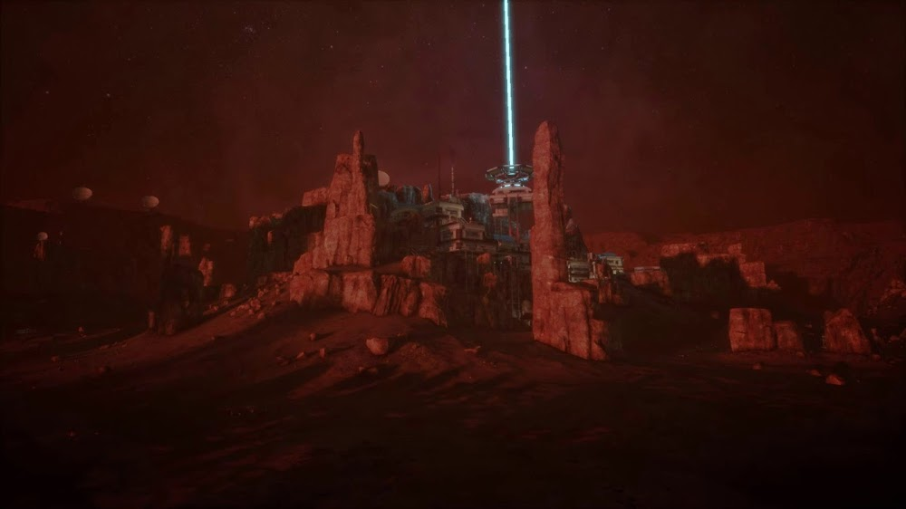 Memories of Mars game image - human base at night