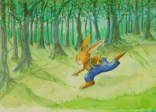 Kinderbuchillustration, Hase, Wald, bunny, children's book illustration, forest, cute