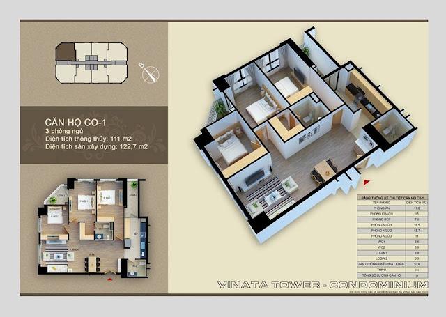 Thiết kế căn hộ C-01 Vinata Towers, 111m2 - 3PN,2VS