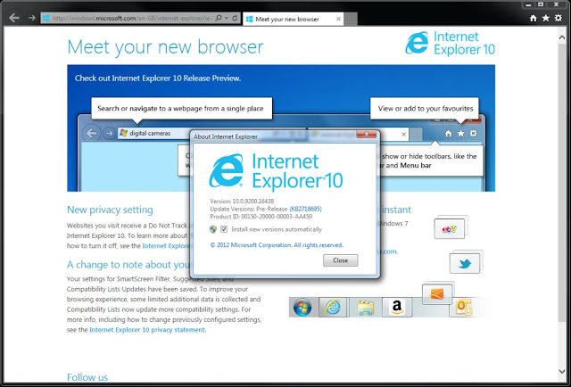Download Internet Explorer 10 for Windows 7