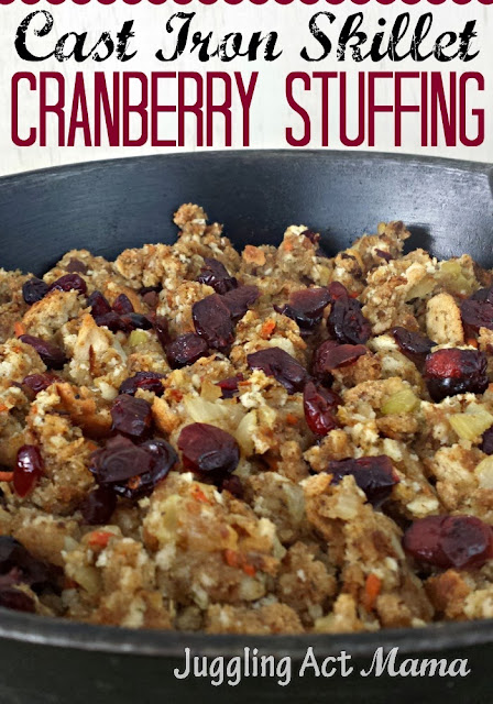 Cast Iron Skillet Cranberry Stuffing - one pan, delicious flavor!