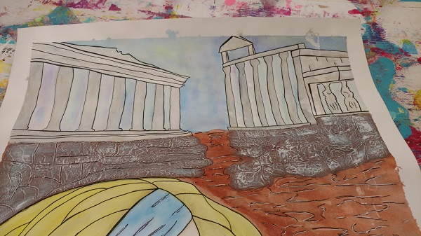 a picture of the ancient greek ruins in the art piece