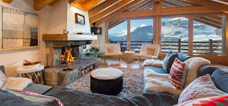 Chalet Sorojasa fireplace and view - click link to view