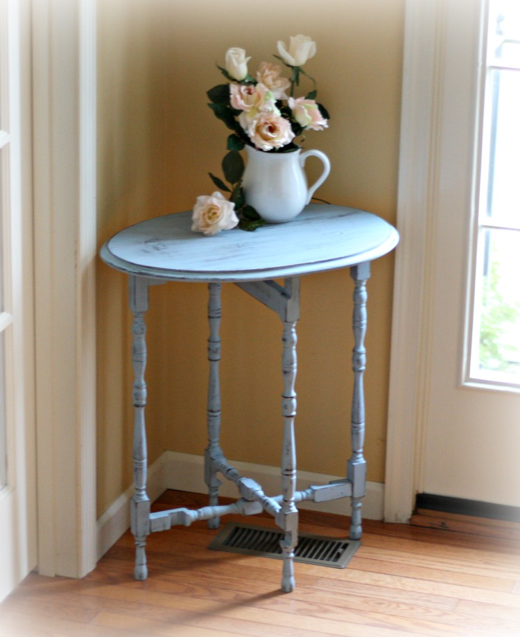 Vintage table painted in Serene blue.
