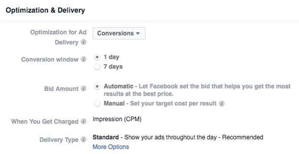 Optimização for better rates tax facebook ads