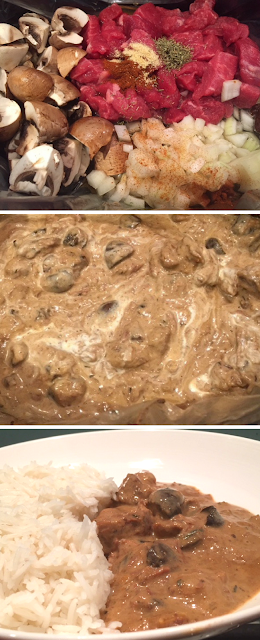 3 images- 1) the ingredients for beef stroganoff 2) Creamy beef stroganoff 3) a bowl of beef stroganoff with rice.