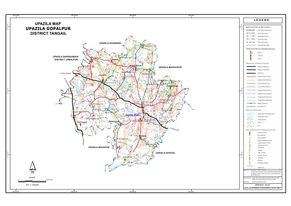 Gopalpur Upazila Map Tangail District Bangladesh