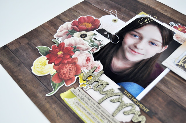 How to add gold embellishments to a scrapbooking layout. A scrapbooking process video by Jen Gallacher for www.jengallacher.com #scrapbooking #scrapbooker #scrapbookingprocessvideo #jengallacher