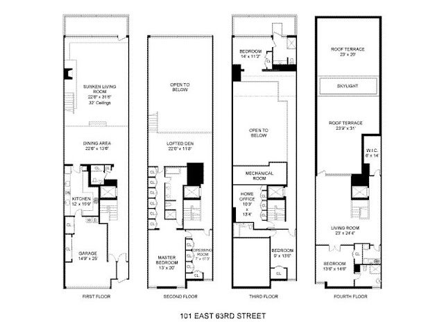 Floor plans of all four floors of the house