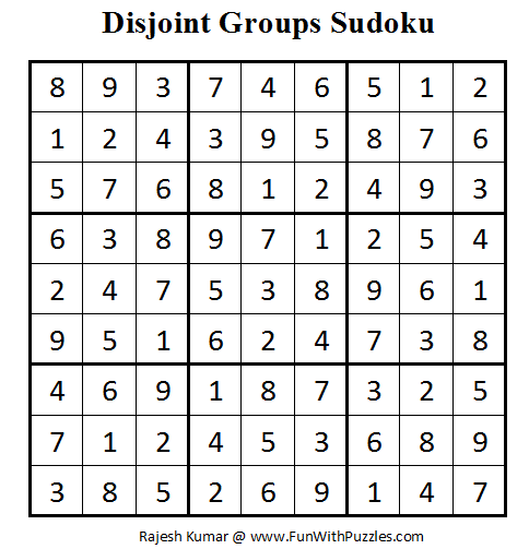 Disjoint Groups Sudoku (Fun With Sudoku #13) Solution