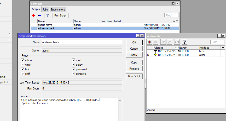 Mikrotik dhcp client, renew scheduler if server down