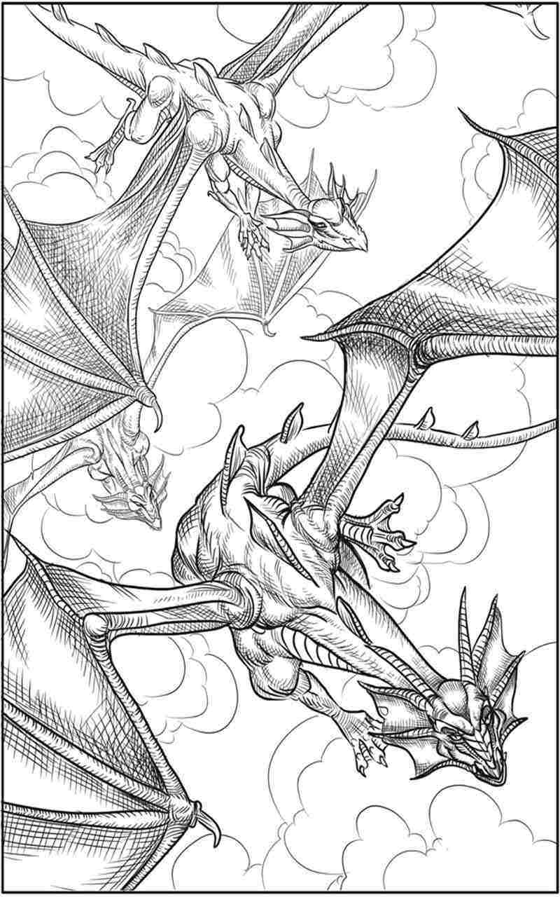 7 dragon fantasy coloring pages realistic coloring pages