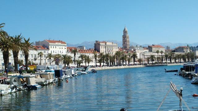 bord de mer, port, marina, split, croatie, sun, voyage, vacances, visite