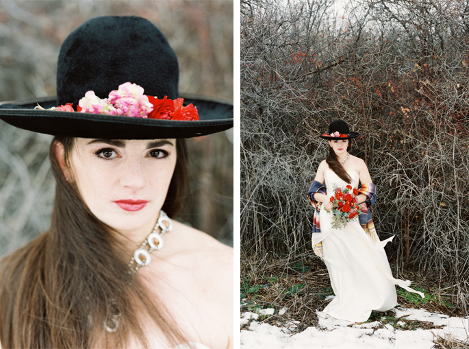 Montana Frida Kahlo Styled Shoot / Photography: Orange Photographie / Styling & Flowers: Katalin Green / Hair & Makeup: Alexa Mae / Dress: Coren Moore / Hat & Serape: Vintage / Necklace & Ring: Mountainside Designs / Location: Bozeman, MT