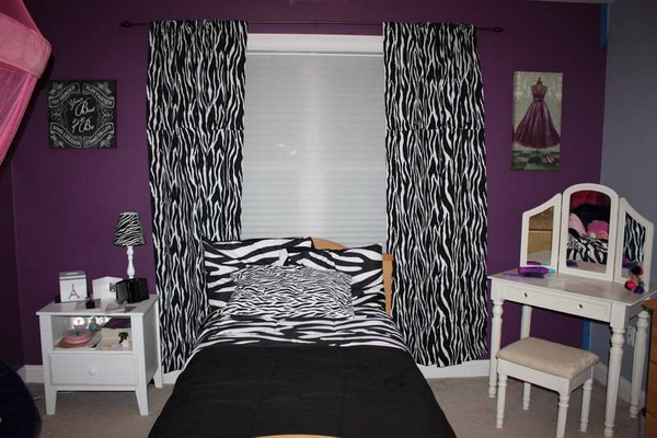zebra print room decorating ideas with white furniture