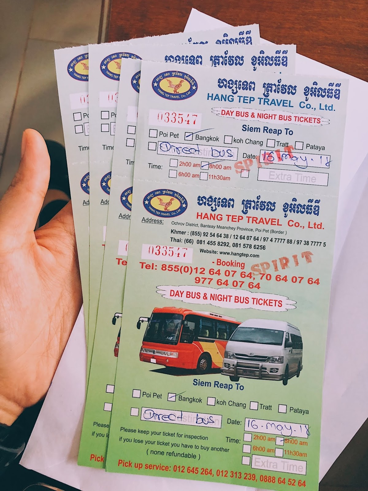 Giant Ibis bus ticket from Siem Reap to Bangkok