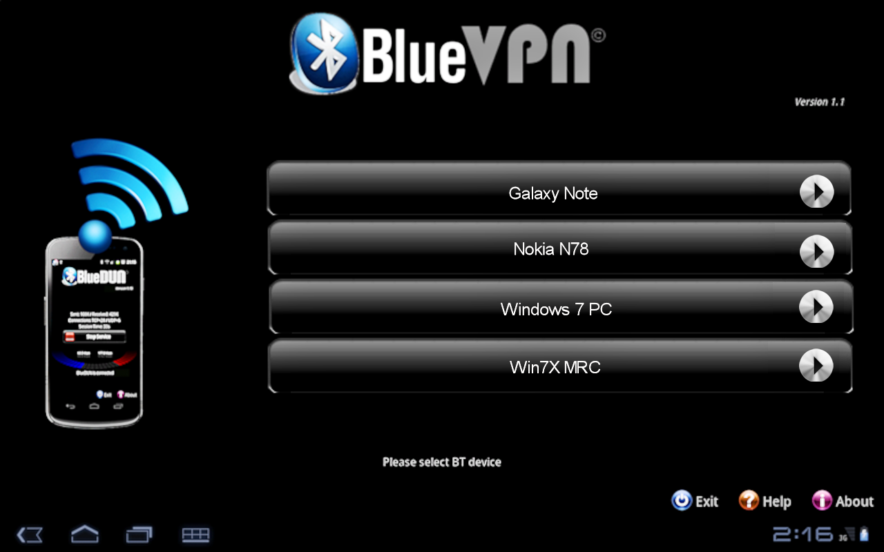 BlueDUN / BlueVPN: Bluetooth tethering for Android devices