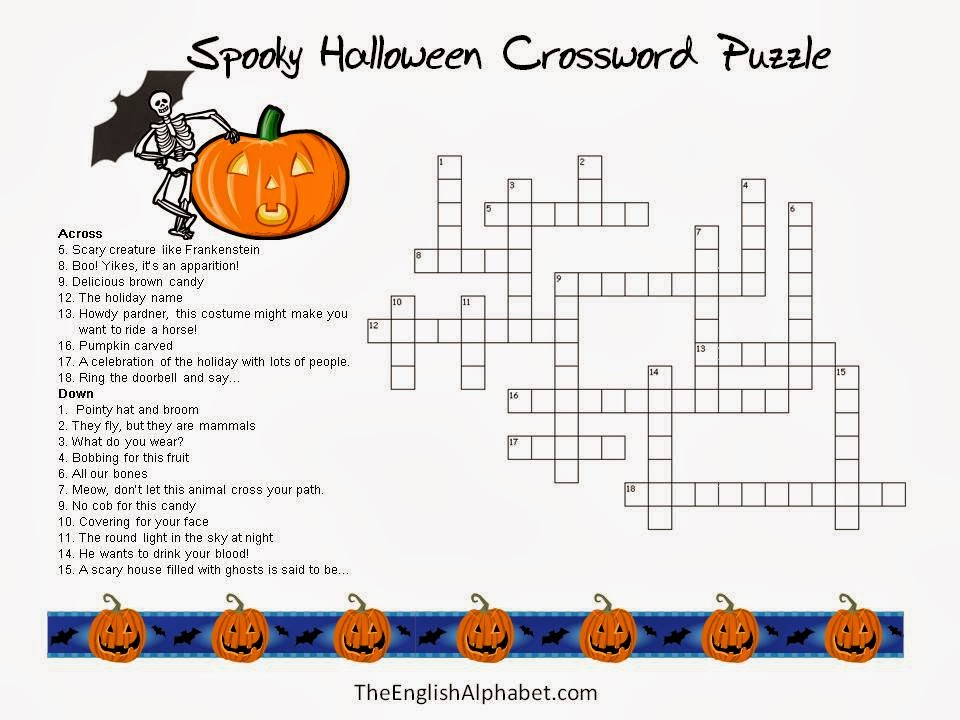 5 new halloween crossword puzzles printable easy