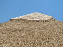 Top detail of King Khafra Pyramid, with limestone casing cemented in place