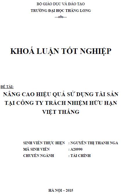 Nâng cao hiệu quả sử dụng tài sản tại Công ty TNHH Việt Thắng