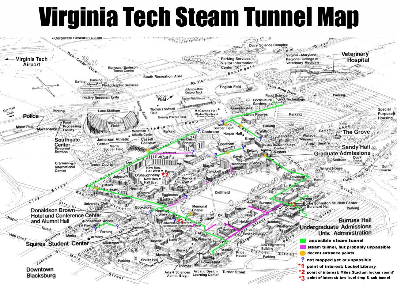 Virginia Tech Urban Exploration Tunnel Entrances Exits