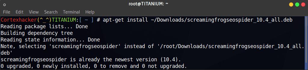 sudo apt-get install ~/Downloads/screamingfrogseospider_10.4_all.deb